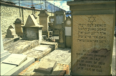 Colombia: Jewish tombstones engraved in Spanish and Yiddish at a cemetery in southern Bogotá. PHOTO BY LARRY LUXNER.