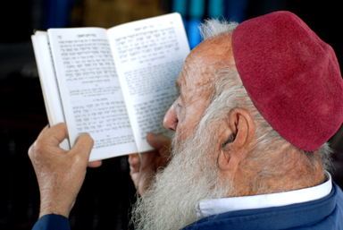 Tunisia: Bearded rabbi prays in Hebrew at the Ghriba synagogue on the island of Djerba.