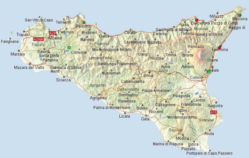 MAP OF SICILY, ITALY מפת סיציליה