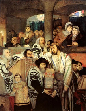 Yom Kippur in the synagogue, painting by Maurycy Gottlieb (1878)