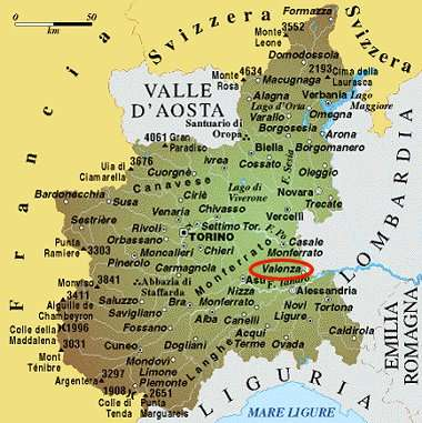 Map of Valenza - Piedmont, Italy